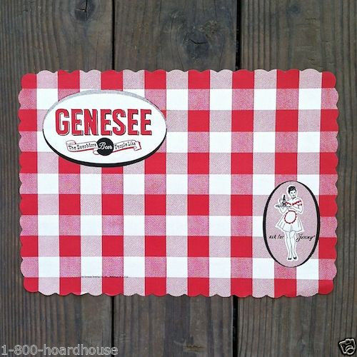 GENESEE BEER Bar Paper Placemats 1950s