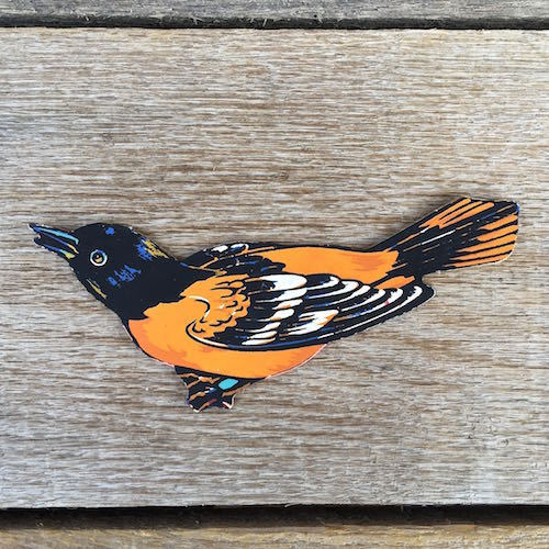 ORIOLE BIRD Diecut Cardboard Sign 1950s