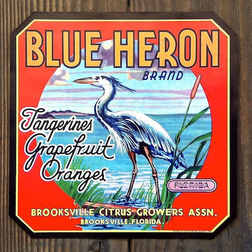 BLUE HERON Citrus Fruit Crate Box Label 1930s