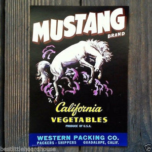 MUSTANG CALIFORNIA VEGETABLES Crate Box Label 1950s