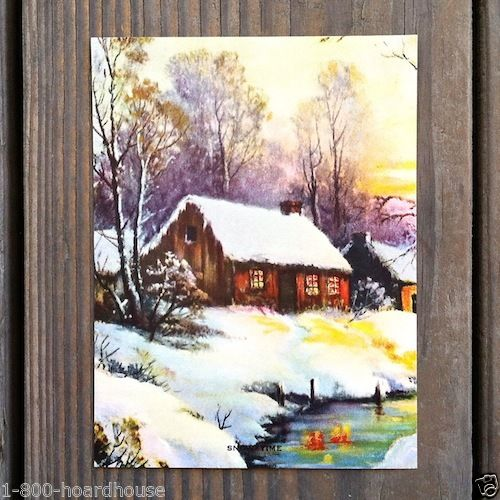 SNOW TIME Cabin Art Lithograph Print 1930s