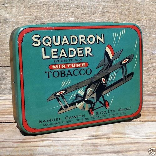 SQUADRON LEADER AIRPLANE Tobacco Tin 1930s
