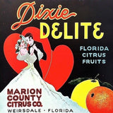 DIXIE DELIGHT Citrus Fruit Crate Label