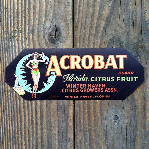 ACROBAT Citrus Crate Box Label 1940s