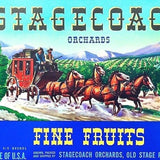 STAGECOACH ORCHARDS Fruit Crate Box Label