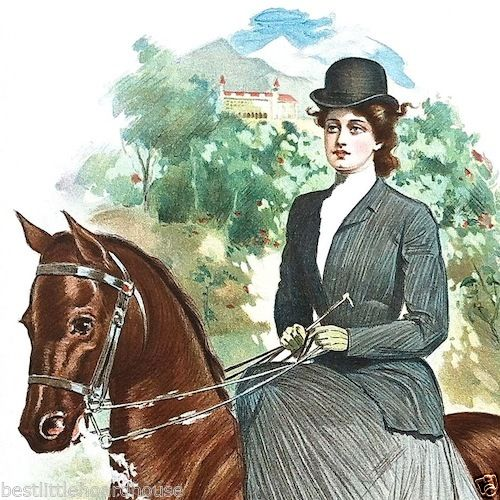 RIDING CLUB Victorian Stone Lithograph Print 1905