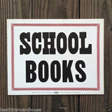 SCHOOL BOOKS Cardboard Sign 1900s