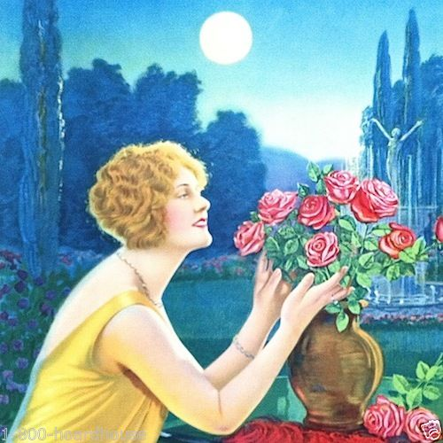 LADY ARRANGING ROSES Art Lithograph Print 1920s