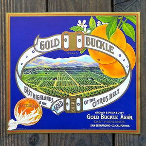 GOLD BUCKLE SUNKIST Orange Crate Box Label