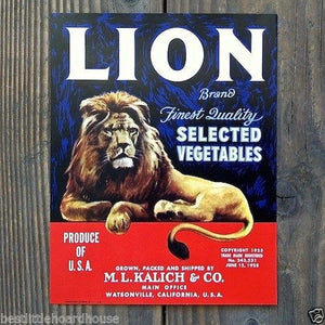 LION Vegetable Crate Label 1950s