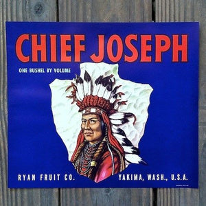 CHIEF JOSEPH Fruit Crate Box Label 1940s