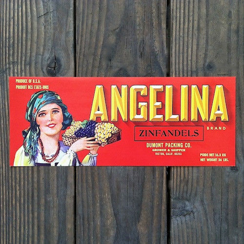 ANGELINA ZINFANDELS Grape Crate Label 1940s