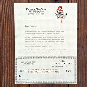 POLL PARROT Shoes Stationary Dividend Coupon Check 1962