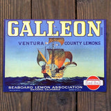 GALLEON LEMON Citrus Crate Box Label 1940s