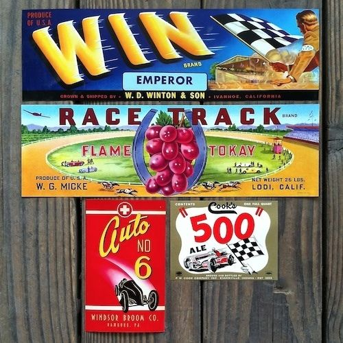 RACING THEME Citrus Box Crate Fruit Labels 1920-40s