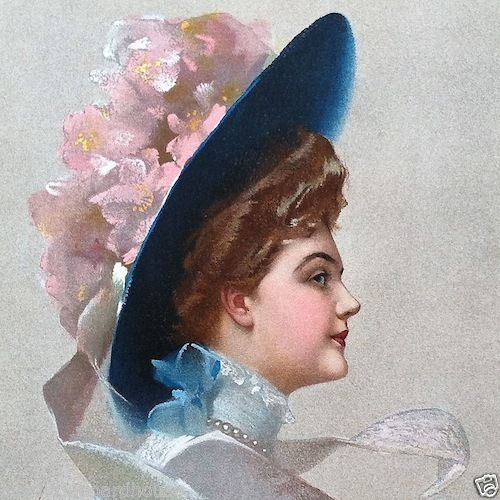 FLOWER HAT Victorian Stone Lithograph Print from 1910