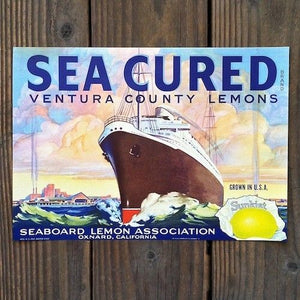 SEA CURED SUNKIST LEMON Citrus Crate Box Label 1930s