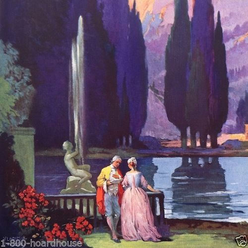 PARIS LOVERS IN GARDEN Art Deco Print 1920s