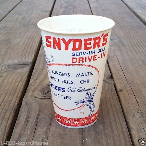 SNYDER'S DRIVE-IN Restaurant Soda Cup 1950s