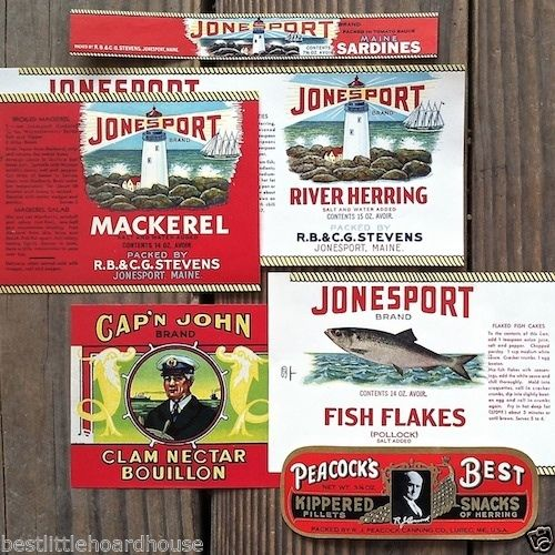 EAST COAST FISH PESCES Can Labels 1920-30s