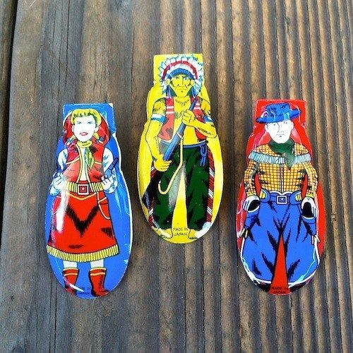 WESTERN CLICKERS Japan Cricket Toy Set 1960s