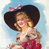 BLACK HAT & ROSES Pinup Art Lithograph Print 1940s