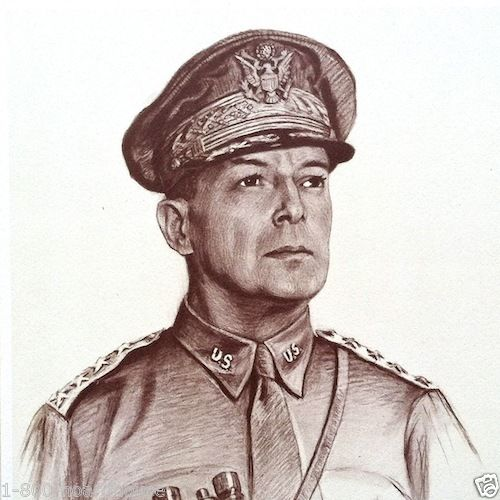 GENERAL DOUGLAS MACARTHUR WWII Military Print 1942