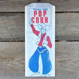 TEXAS SIZE POPCORN Snack Bag 1950s