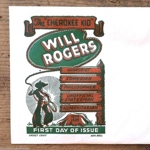 Postal Commemorative Envelope WILL ROGERS 1940s