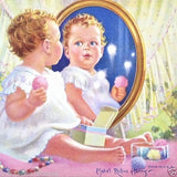 BABY IN MIRROR Art Lithograph Print 1930s