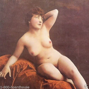 POSED Plump Nude Pinup Lithograph Print 1930s