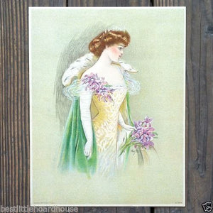BEAUTY QUEEN Victorian Stone Lithograph Print 1909