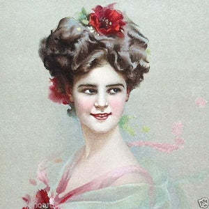 RED FLOWER Victorian Lithograph Print 1910