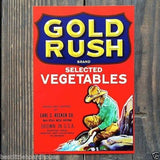 GOLD RUSH SELECTED VEGETABLE Crate Box Label 1950s