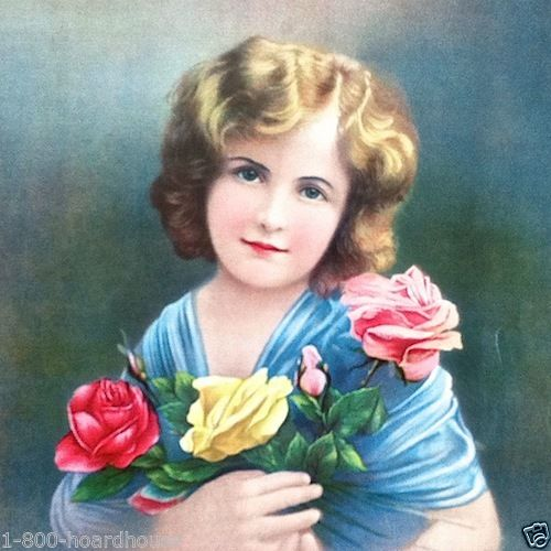 ROSE GIRL Flower Art Chromolithograph Print 1910s