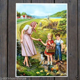 HARVEST TIME Art Lithograph Print 1920s