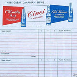 O'KEEFE ALE TALLY SHEET Gaming Game 1941