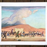 Gold Rush THE TRAIL Ghost Town Lithograph Art Print 1960's