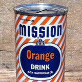 MISSION ORANGE SODA Tin Can BANK 1954