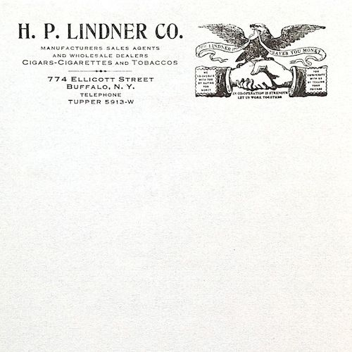 LINDNER TOBACCO Letterhead Stationary 1910s