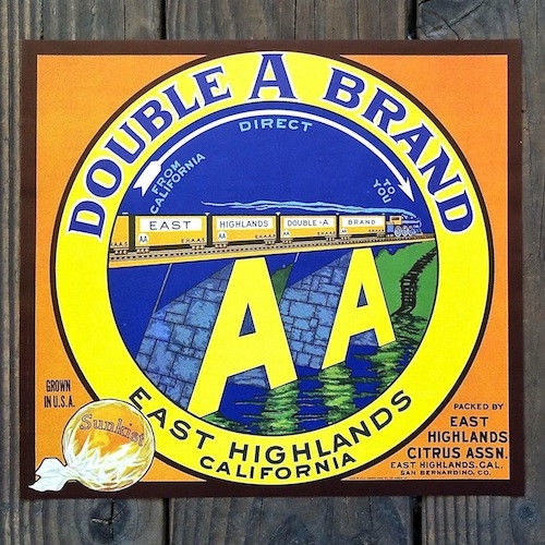 DOUBLE A BRAND SUNKIST Orange Box Crate Label