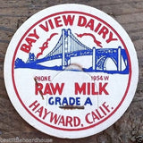 BAY VIEW DAIRY Raw Pasteurized Milk Caps 1930s