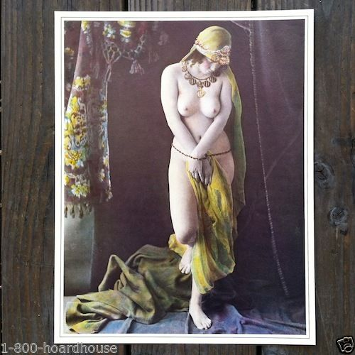 PLUMP NUDE Pinup with Beads Art Lithograph Print 1930s