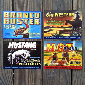 WESTERN THEMED Mini Crate Box Label Collection