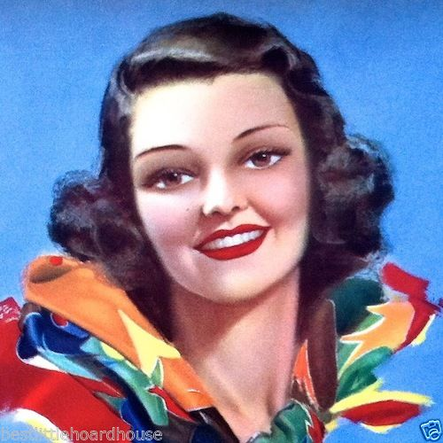SMILE OF BEAUTY Pinup Lithograph Art Print 1940s