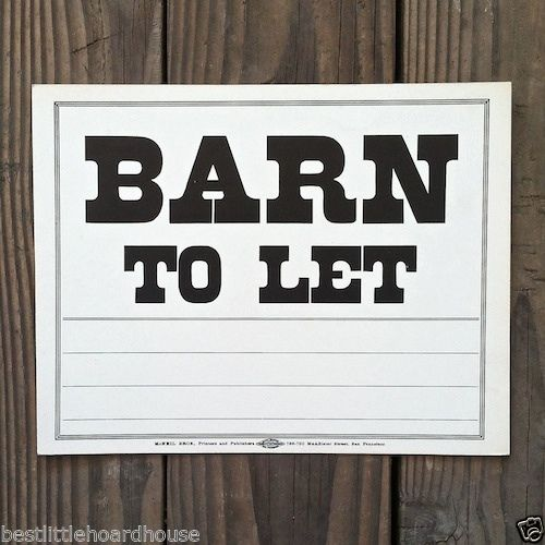 BARN TO LET Real Estate Cardboard Sign 1900's