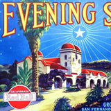 EVENING STAR Red Ball Citrus Crate Box Label 1930s