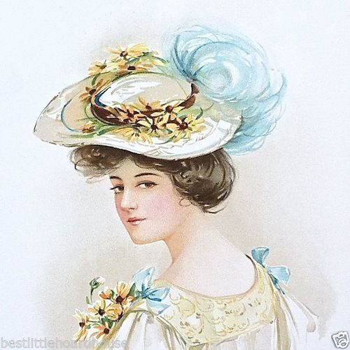 Yellow Daisy EASTER HAT Victorian Lithograph Print 1908