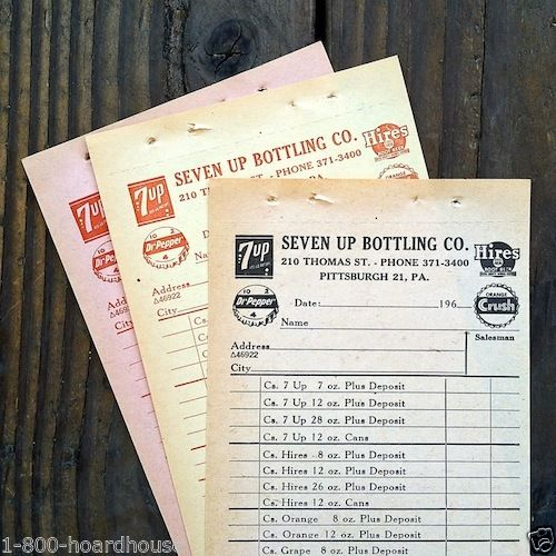 DR. PEPPER ORANGE CRUSH HIRES Soda Order Forms 1960s