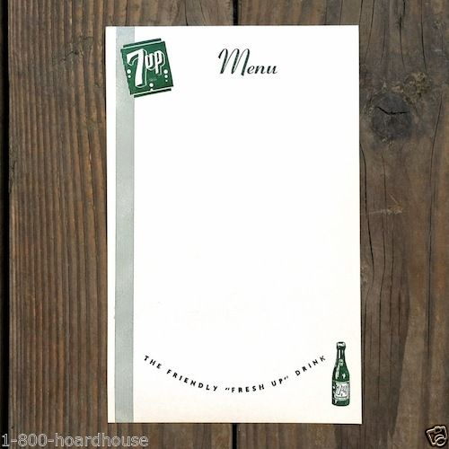 7UP SODA Bottle Menu Sheets 1940s